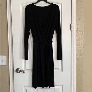Women's Long Sleeve Black Knee Length Wrap Dress